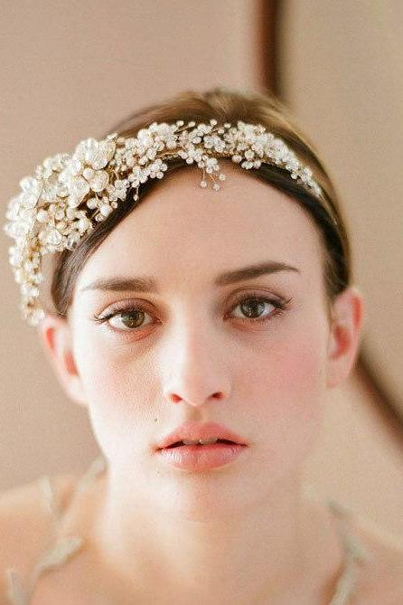 Wedding Bridal Gold Crystal Pearls Flower Headband Hair Accessories Crown Tiara
