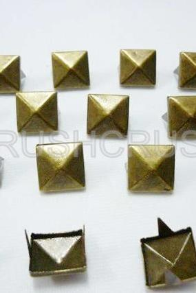 100x7mm Brass Pyramid Studs Spots Punk ROCK Biker DIY Spikes S207
