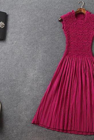 Fashion Pressure Plait Pleated Elasticity Purple Dress