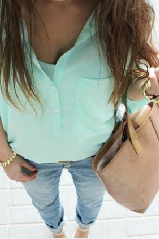 2015 new fashion women summer Sweet Light Green Shirt