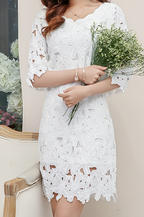 Sweet Round Neck White Lace Dress