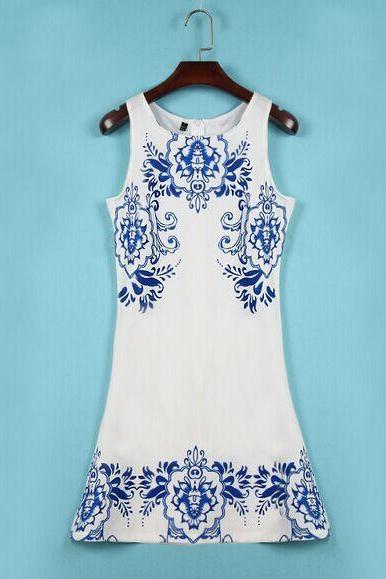 Porcelain Printed Sleeveless Dresses