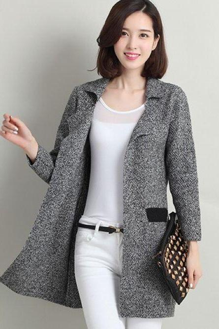 Classy Knitted Grey Winter Coat