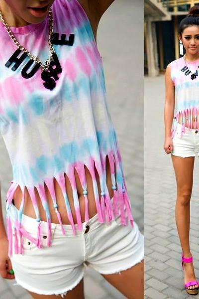 Gradient Fringed Vest
