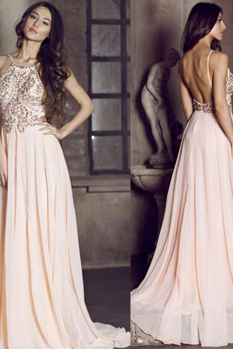Pd06193 Charming Prom Dress,Beading Prom Dress,A-Line Prom Dress,Sexy Backless Prom Dress,Chiffon Prom Dress