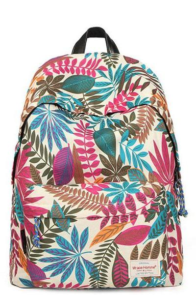 Flower Printing Leisure Canvas Backpacks