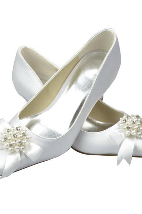 Pearl and Ribbon Satin High Heel Pumps, Bridal Wedding Shoes,Party Dress, Bridal Shoe