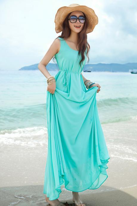 Elegant Casual Bohemian Beach Sleeveless Bodycon Long Tunic Chiffon Prom Dress