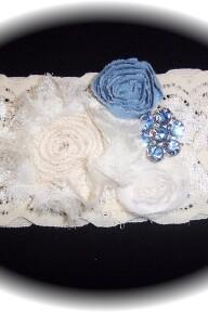 Ivory and Blue Garter 504