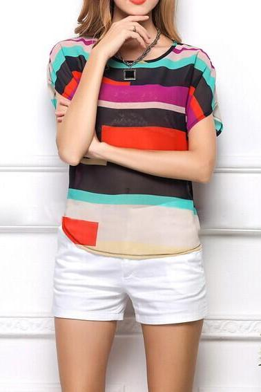Irregular Striped Chiffon T-Shirt