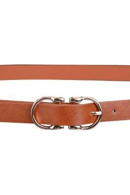 Metal thin leather belt-Double D