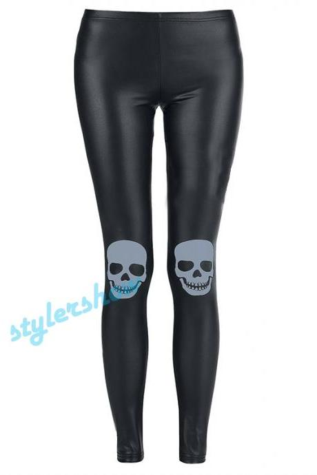 2015 New Fashion Leather Skull Leggings