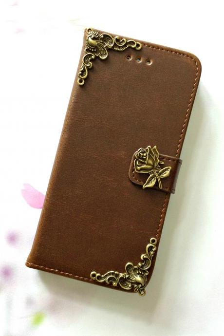 Flower iphone 6 6s 4.7 leather wallet case, Vintage iphone 6 6s plus leather wallet case, iphone SE, 5c, 5, 5s leather wallet case, samsung galaxy S4, S5, S6, S6 Edge, S7, S7 Edge, Note 3, Note 4, Note 4 Edge, Note 5, leather wallet case, item no.74