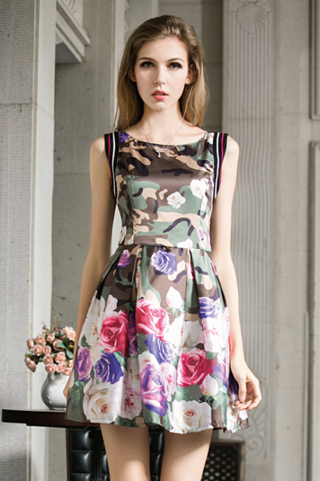 Camouflage Printed Fashion Dress