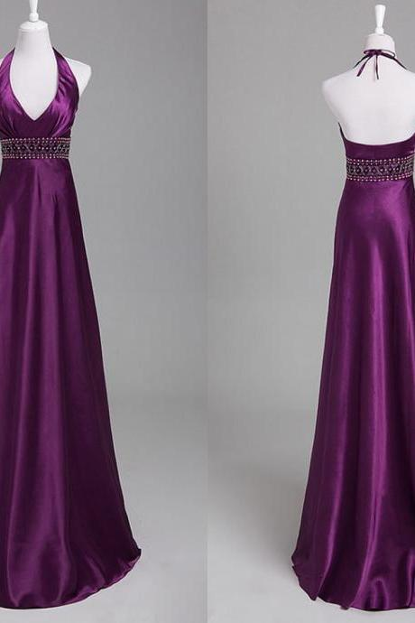 Elegant Halter Neckline Long Purple Bridesmaid Dresses, Bridesmaid Dresses, Bridesmaid Dress, Purple Bridesmaid Dresses
