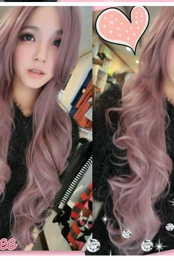 Nice women long wavy wig fashion girl Synthetic Curly Cosplay Hair Wig