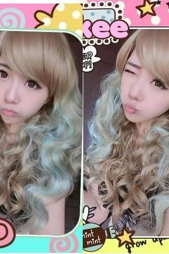 Aqua Fantasy long fluffy hair streaked Harajuku Style Oblique Bangs Wig