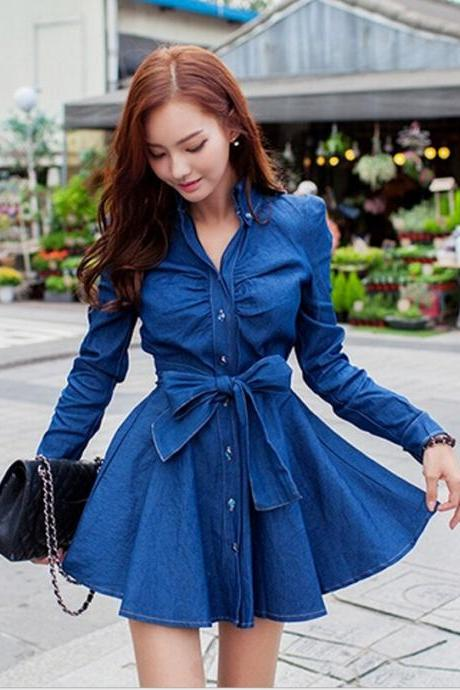 Fashion Long-Sleeved Denim Dress