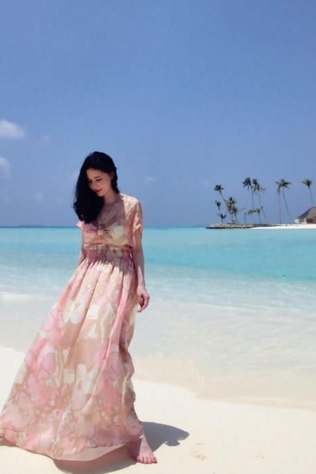 Nice Pink Floral print Summer Seaside Resort beach bohemian dress