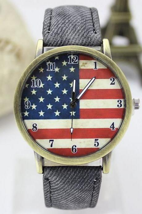 United States flag face casual black band teen watch