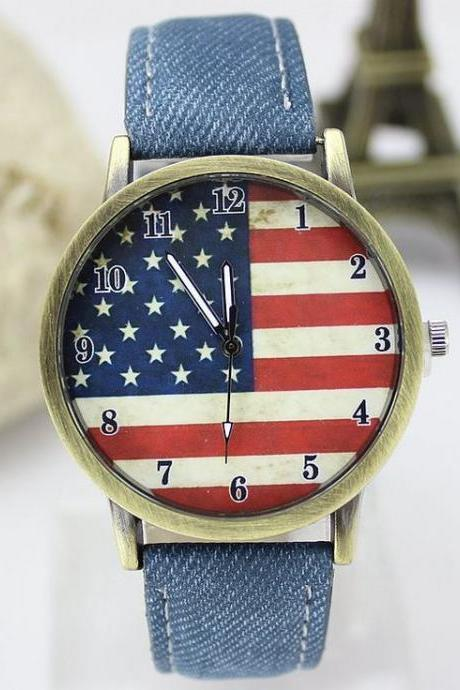 United States flag face casual blue band teen watch