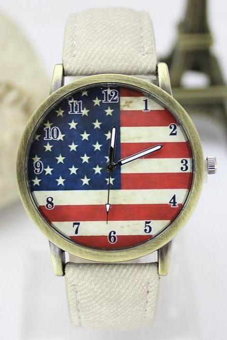 United States flag face casual white band teen watch
