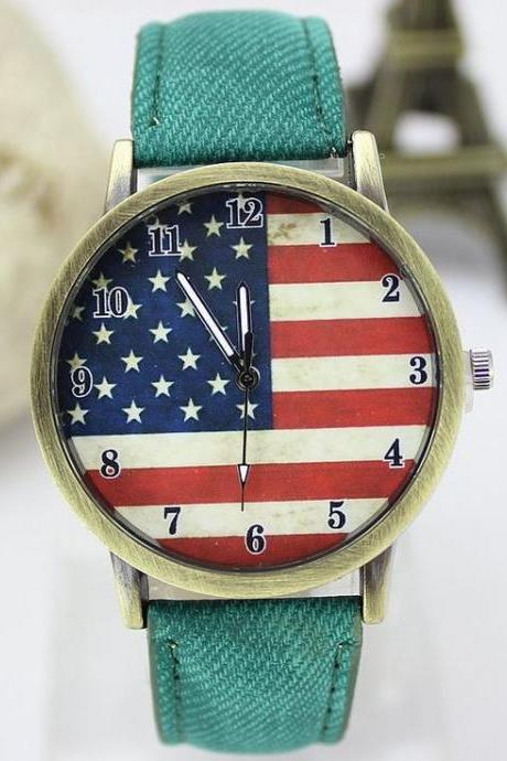 United States flag face casual green band teen watch