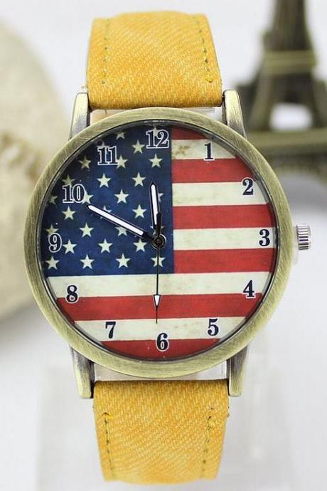 United States flag face casual yellow band teen watch