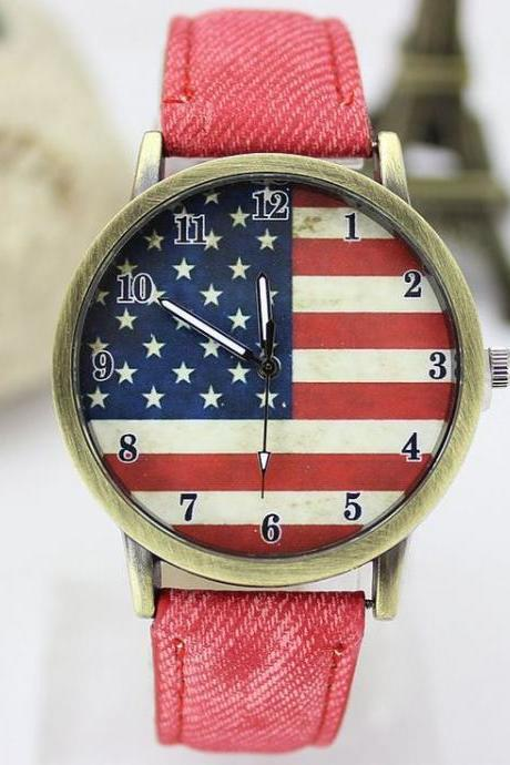 United States flag face casual teen red band watch