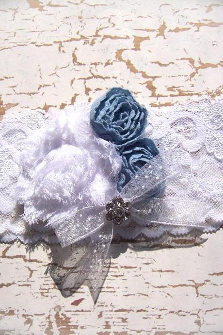 Vintage White Lace and Light Blue Wedding Garter 518