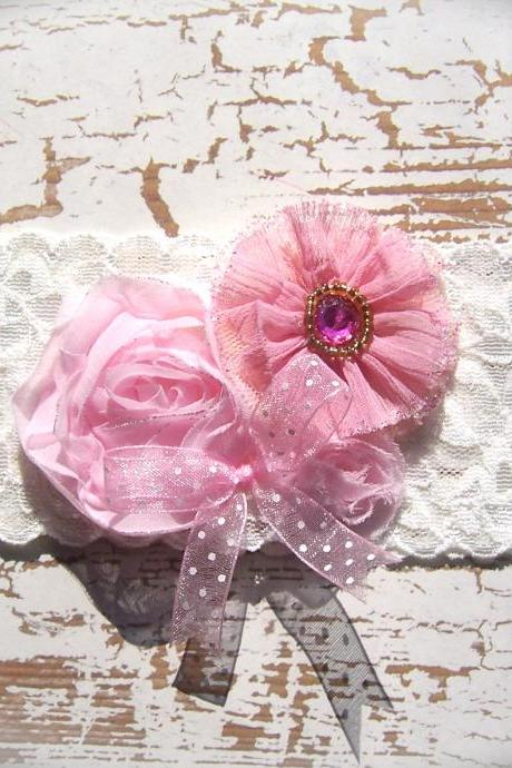 Vintage Pink Flowers and Lace Wedding Garter 519