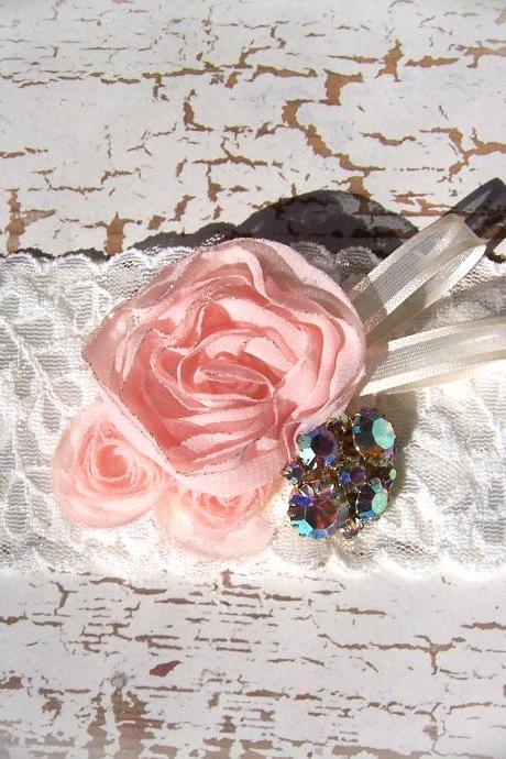 Vintage Peach Rose Lace Garter 520