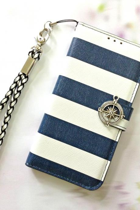Stripe blue leather phone wallet, Compass iphone 6 6s 4.7 leather wallet case, Vintage iphone 6 6s plus leather wallet case, iphone SE, iphone 5c, 5, 5s leather wallet case, samsung galaxy S4, S5, S6, S6 Edge, S7, S7 Edge, Note 3, Note 4, Note 5, leather wallet case, item no.283