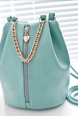 Leather Chain Bucket Bag