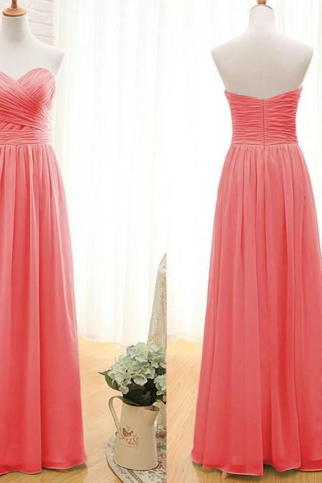 Watermelon sweetheart neck chiffon bridesmaid dress,pleat A line floor length long prom dress,formal evening dress,party dress