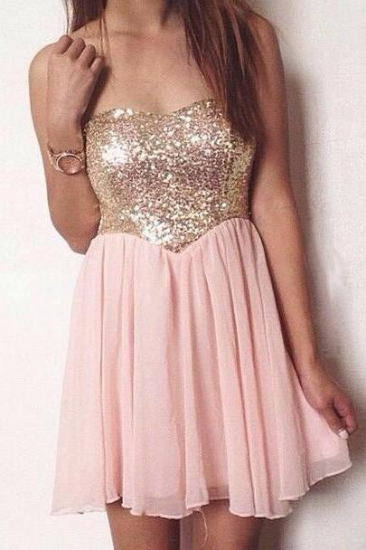 Strapless Sweetheart Short Homecoming Dress, Party Dress with Sequined Bodice