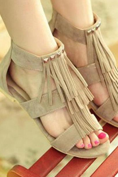 Casual Zipper Tassel Sandals
