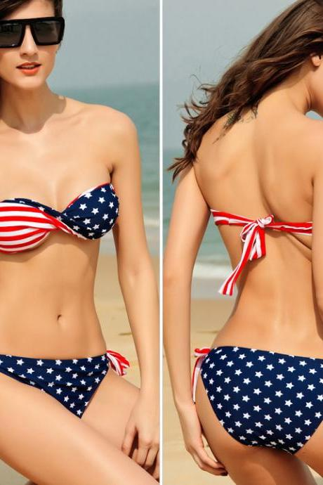 Stars Stripes Padded Twisted Bandeau American Flag Swimwear Bikini