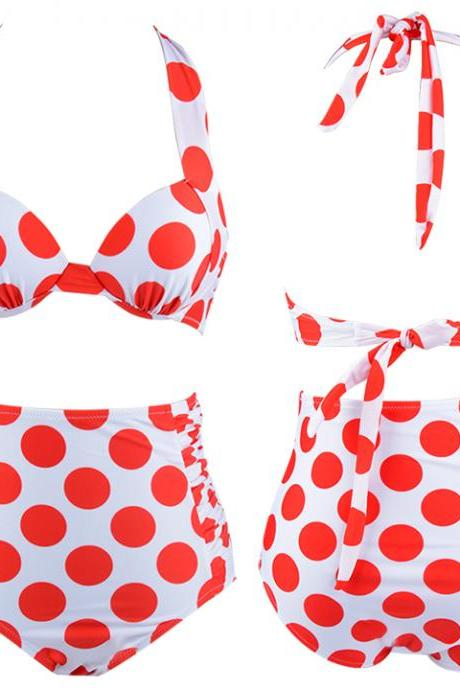 Women Red Color Polka Dots Vintage High Waist Bikini Set Top+ Bottom