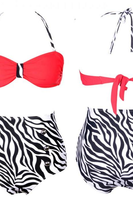 Zebra-strip Push Up High Waist Bikini
