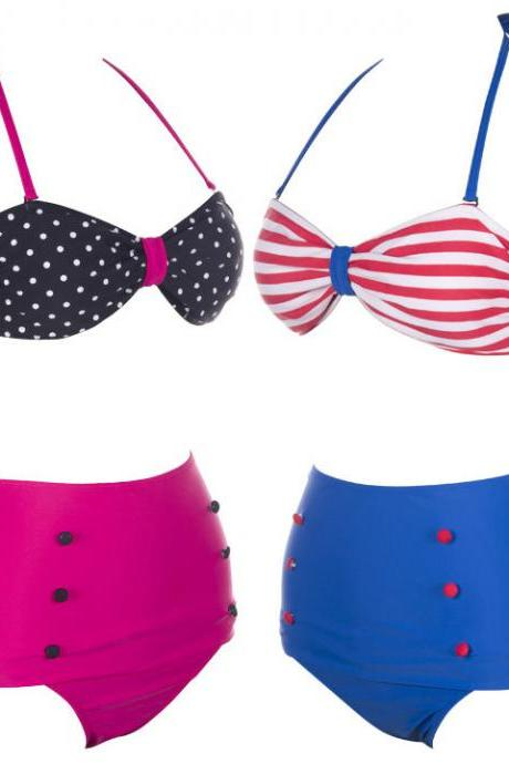 Bandeau High Waisted Bikini Set