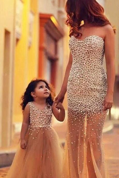 New fashion beaded champagne tulle mother prom dress and flower girl dress,sweethear evening prom dress
