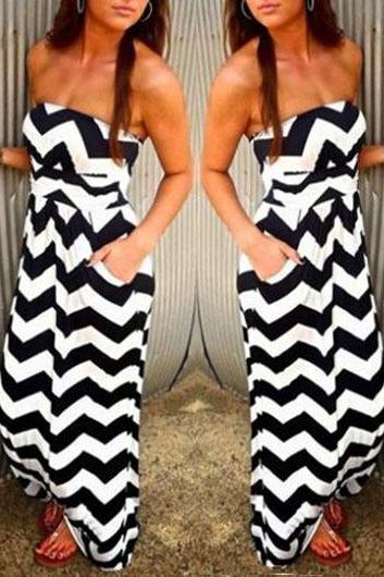 New Chevron Striped Strapless High Waist Maxi Dress