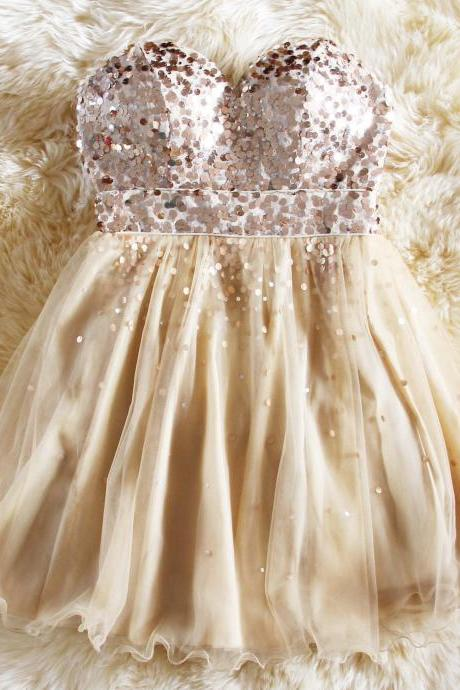 Fashion sweetheart champagne tulle teens girl prom dresses,sequins formal party dress,girl dress,wedding party dress