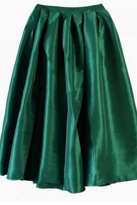 Pleated Shiny Midi Skirt