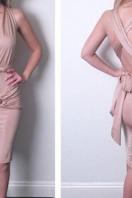 Deep V belt dress irregular condole bandage dress