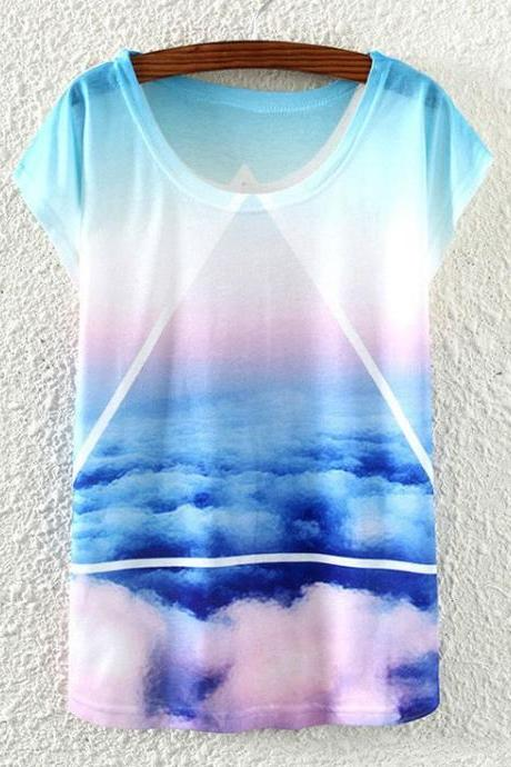 Blue sky freedom woman top t-shirt