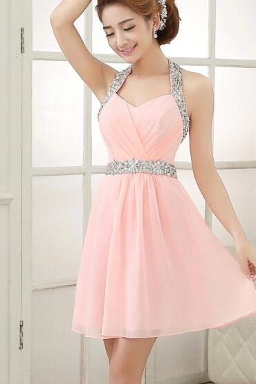 Pretty Pink Knee Length Halter Homecoming Dress with Sequins, Pink Homecoming Dresses, Graduation Dresses