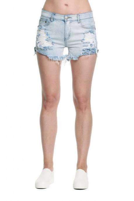 Black Holes Cut Bad Cowboys Ladies Shorts Denim Pants