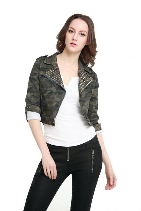 Camo Rivet Short Women'S Punk Jacket